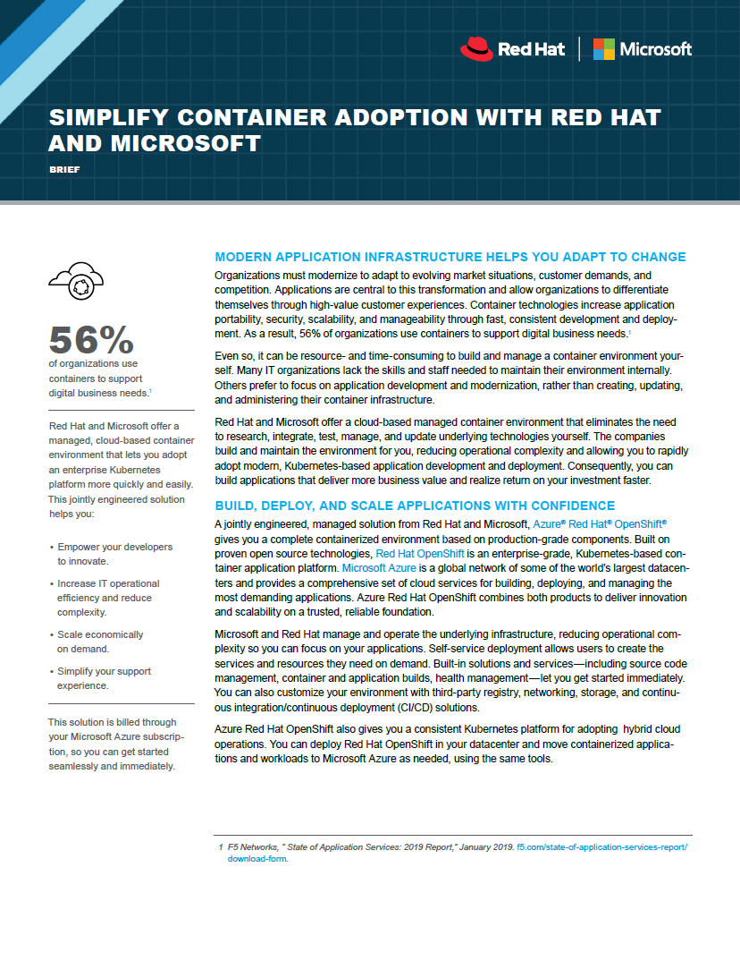 Simplify Container Adoption with Red Hat and Microsoft