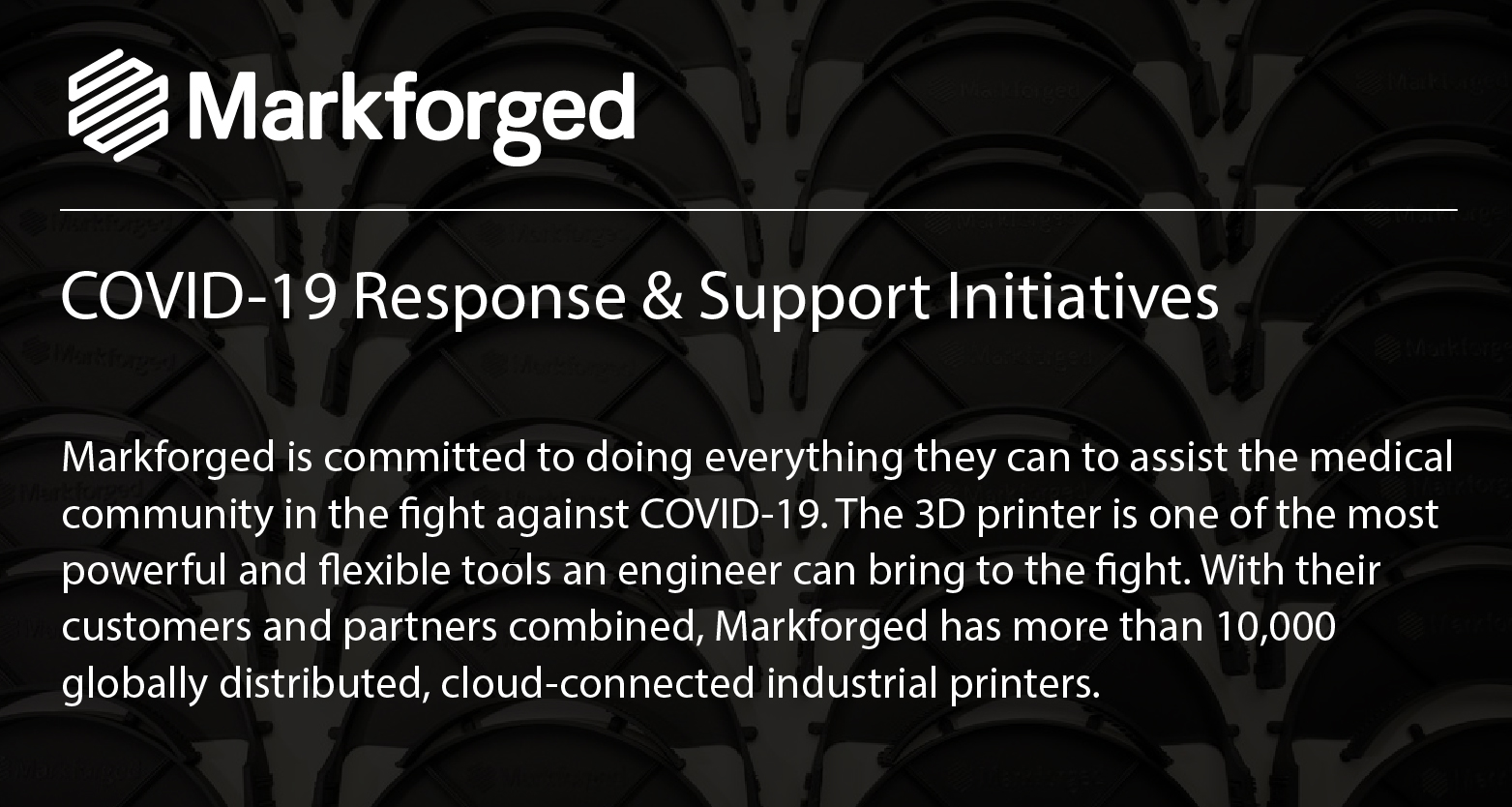 Markforged COVID-19 Response Banner Image
