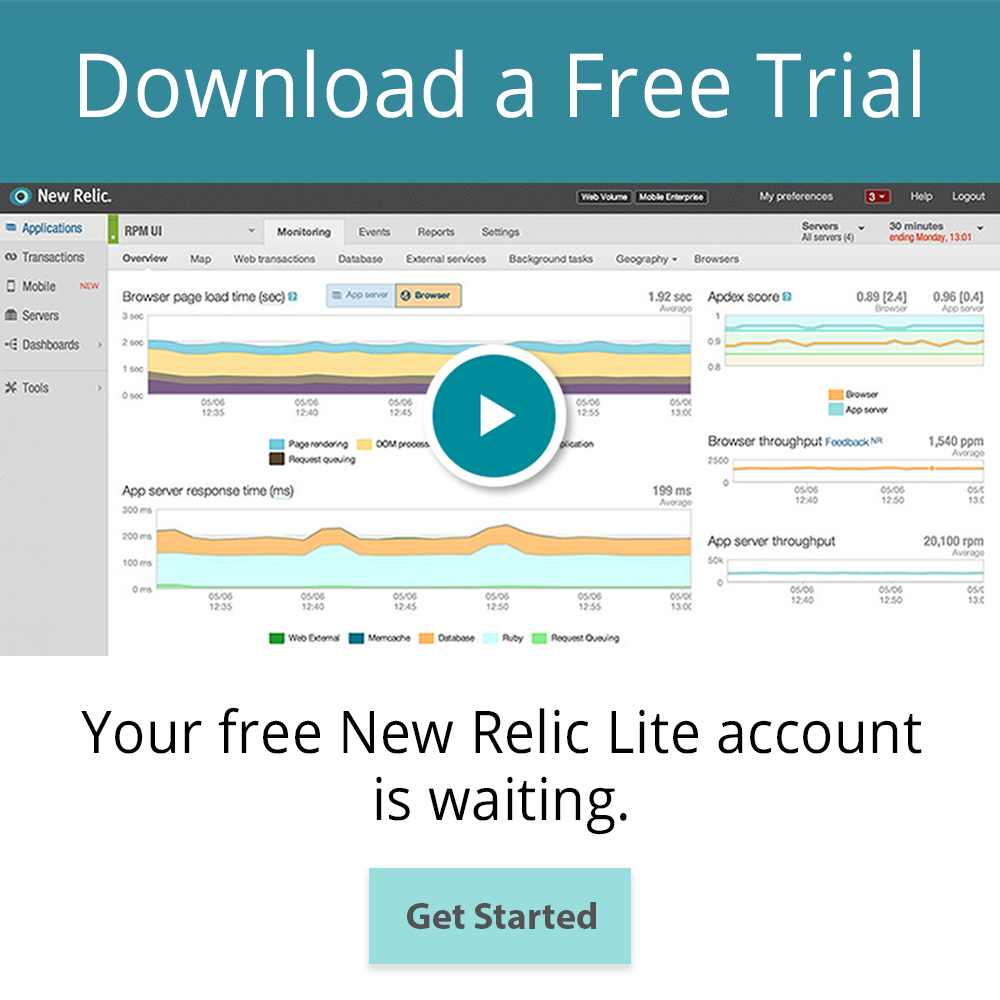 Free Trial New Relic sidebar