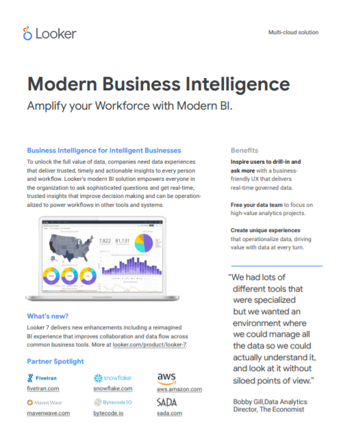 Looker Modern BI one pager