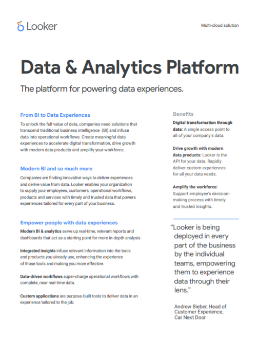Looker Data Experiences one pager