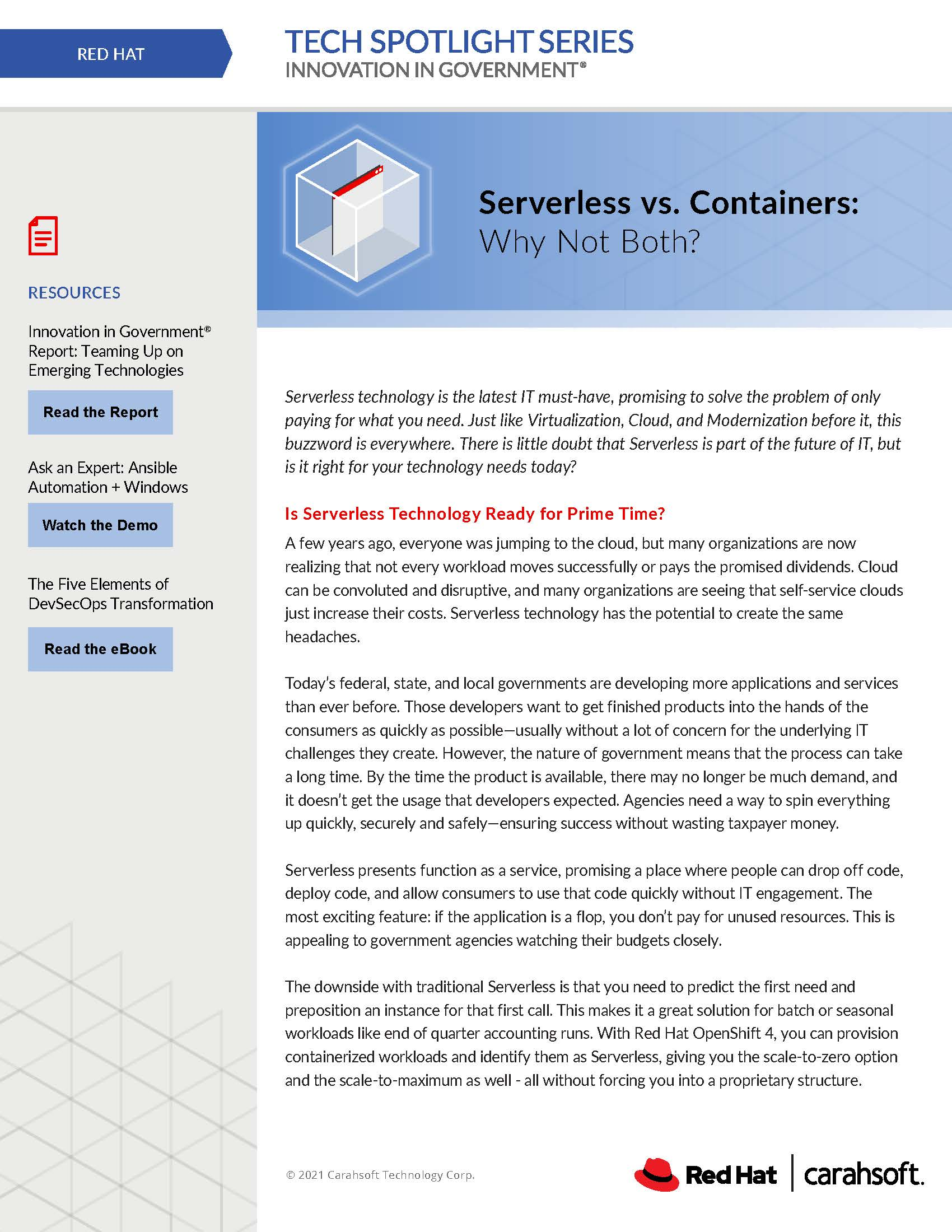 Tech Spotlight Red Hat Serverless vs. Containers Graphic