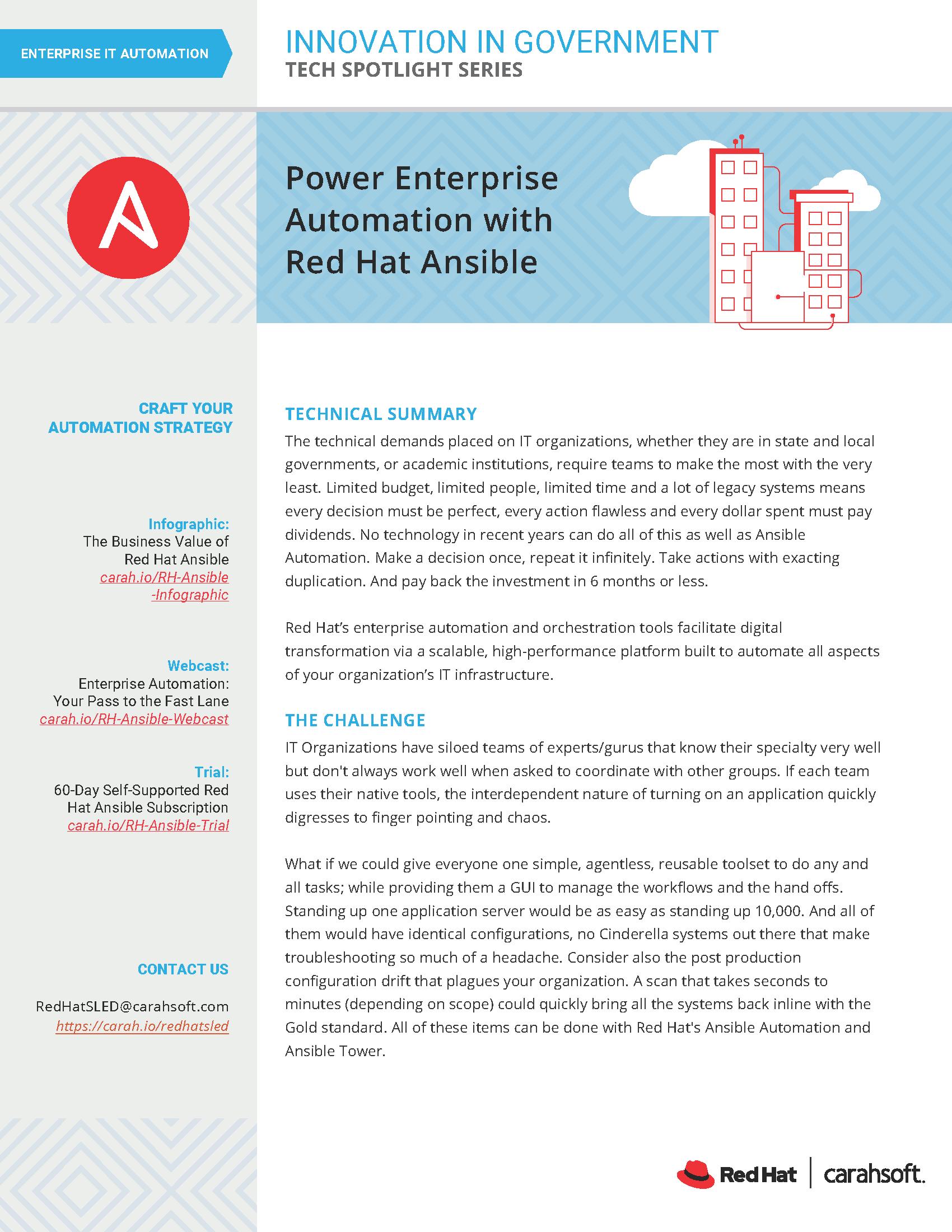 Tech Spotlight Red Hat Enterprise Power Automation Ansible Graphic